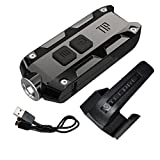 Nitecore TIP 2017 SS Stainless Steel Edition 360 Lumen USB Rechargeable Keychain Flashlight & LumenTac USB Charging Cable (Jet Black)