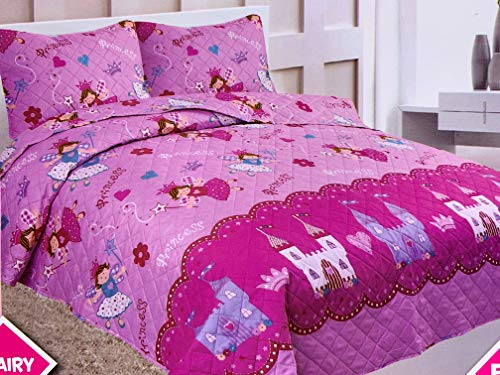 Sapphire Home 3 Piece Full Size Girls Kids Bedspread Coverlet Quilt Set with 2 Shams, Princess Fairy Castle Kingdom Print Pink Hot Pink Girls Kids Bedding Set, Full Bedspread -