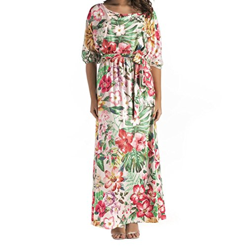 Mr.Macy Long Dress, Women Flower Printed Batwing Sleeve Casual Boho Chic Tie Long Dress With Belt (L, - Fashion Macy Show