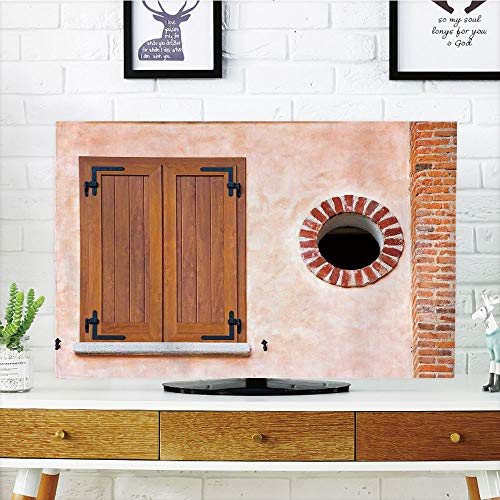 Window Shutters Exterior - iPrint LCD TV dust Cover Strong Durability,Shutters Decor,Italian Style Old Window Renaissance Mediterranean Urban Life Style Artful Photo,Pink Brown Red,Picture Print Design Compatible 55