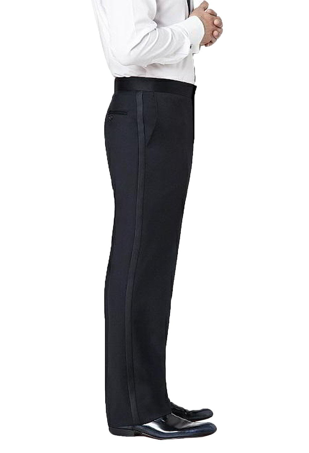 Neil Allyn Men's Flat Front Comfort Waist Satin Stripe Tuxedo Pants, 32