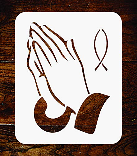 Praying Hands Stencil - 3 x 4 inch - Reusable Religious Catholic Fish Wall Stencils Template - Use on Paper Projects Scrapbook Journal Walls Floors Fabric Furniture Glass Wood etc.