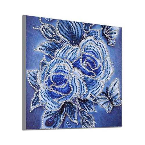 Rakkiss 5D Diamond Painting Rhinestone Fantasy Flower Bloom Butterfly Embroidery Wallpaper DIY Cross Stitch Arts Kit Crystal for KidsFor Adult Decoration Drawing 25x25cm White