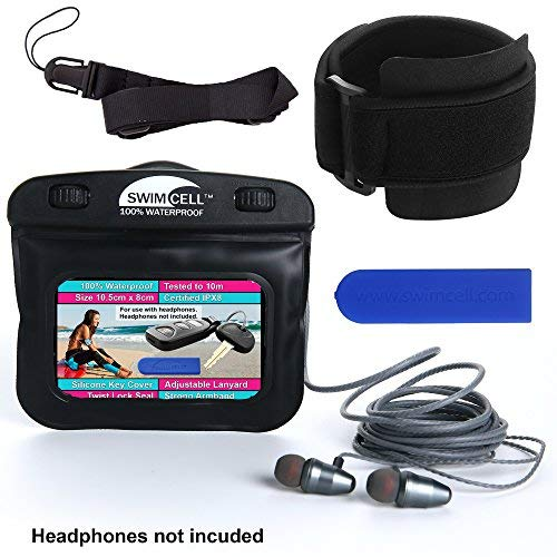 SwimCell Waterproof Case for MP3 Player with headphone jack. 3 x 4 inches. Adjustable Running Armband, Lanyard and Silicone Key Cover (Black with HPJ, 3 x 4 inches with Headphone ()