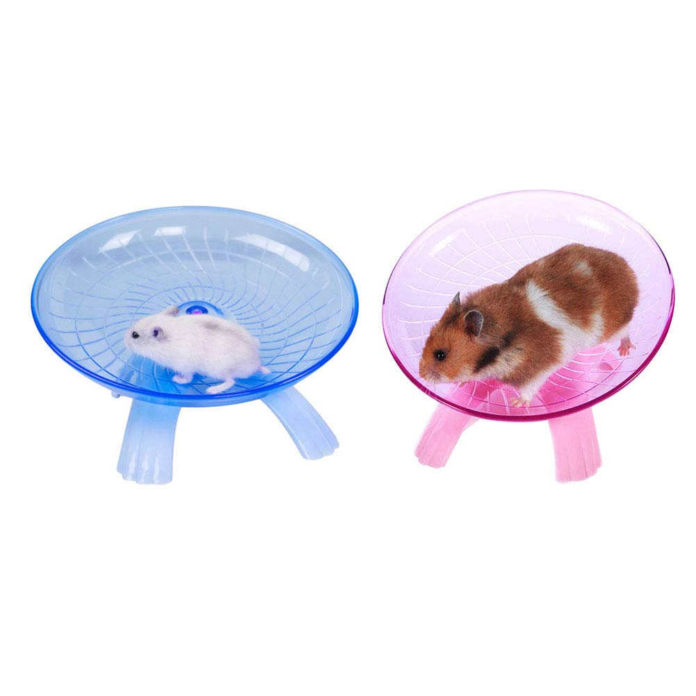 Yuccer Flying Saucer, Exercise Wheel for Hamster Rats Chinchilla Small Pets Running Silent Spinner Gerbils Mice 7.1 Inch (Blue+Pink)
