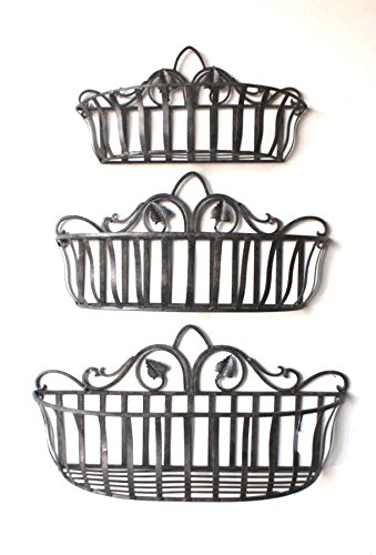 Cheap-Chic Decor Tuscan Wrought Iron Hand Forged Wall Planter Baskets Set of 3
