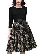 Miusol Women's Casual Vintage Floral Lace Contrast Bow Evening Party Dress