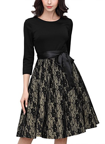 Miusol Women's Casual Floral Lace Contrast Bow 2/3 Sleeve Cocktail Evening Dress Black X-Large ()