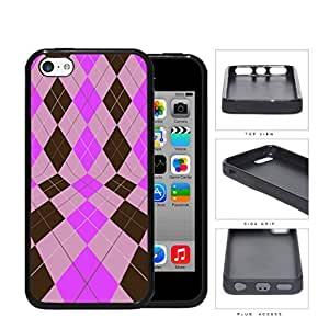 Preppy Argyle In 2 Dimensions Pink And Brown Rubber Silicone TPU Cell Phone Case Apple iPhone 5c