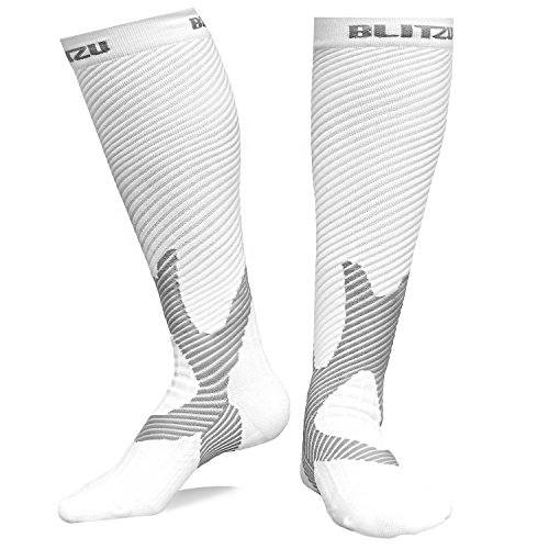 Blitzu Compression Socks 20-30mmHg for Men & Women BEST Recovery Performance Stockings for Running, Medical, Athletic, Edema, Diabetic, Varicose Veins, Travel, Pregnancy, Relief Shin Splints White S/M