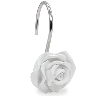 BEAVO Shower Curtain Hooks, Home Decorative Rustproof Shower Curtain Hooks Resin Rose Flower Shower Hooks Rings for Bathroom Shower Rods Curtains,Set of 12 Hooks (White)
