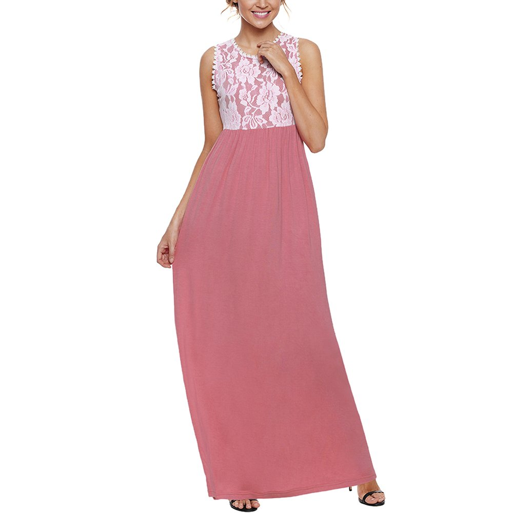Lrud Women's Floral Lace Top Scoop Neck Tank Sleeveless Maxi Long Dress with Pockets Pink-White-M