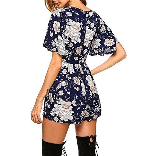 Jumpsuits Combinaison V Marine Mode Adeshop Siamois Pantalon Manches Bohême Femmes Barboteuses Impression D'été Floral Taille Grande Vêtements Lâche Col Courtes wwzSOqH0