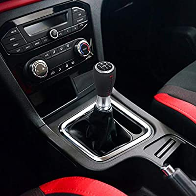 Arenbel 5 Speed Gear Shift Knob Leather Stick Shifter Knobs Lever Shifting Head fit Universal Manual Automatic Cars, (Black, Red): Automotive