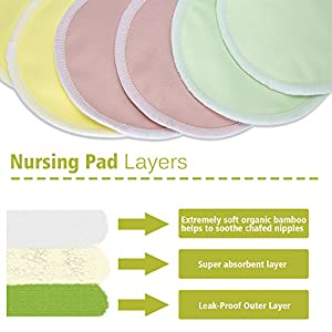TARTINY Perfect 2 Sizes baby showers Breathable, washable, leak-proof repeatable breast feeding pads Organic bamboo pads (12 packs) + laundry bag | (M)
