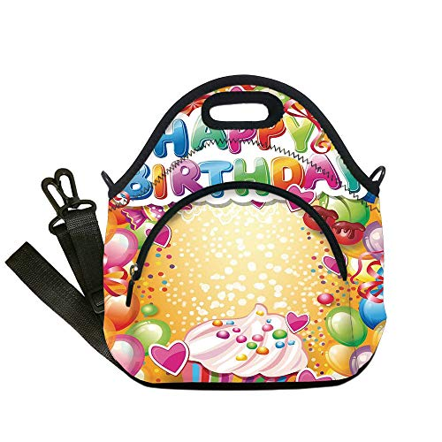 Insulated Lunch Bag,Neoprene Lunch Tote Bags,Birthday Decorations,Vivid Colored Framework with Many Balloons Cupcake Cherry and Hearts,Multicolor,for Adults and children