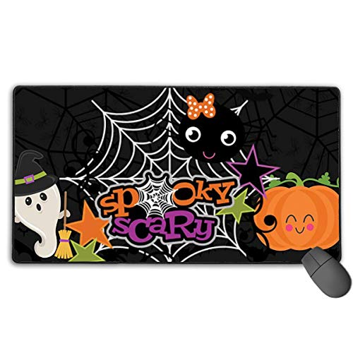 Halloween Ghost Pumpkin Wallpapers Gaming Mouse Pad, Premium Extended Computer Keyboard Mouse Pad for Laptop & PC, Non-Slip Rubber Base, 29.5