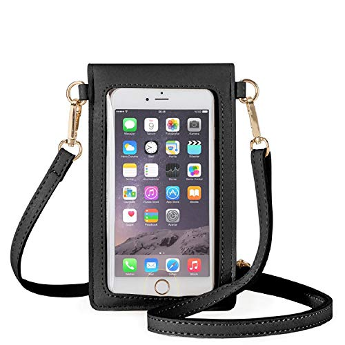 AnsTOP Lightweight Leather Mini Pouch Small Crossbody Bag Cell Phone Purse Wallet Shoulder Bags for Women, Fit with iPhone X, 8 Plus (Black)