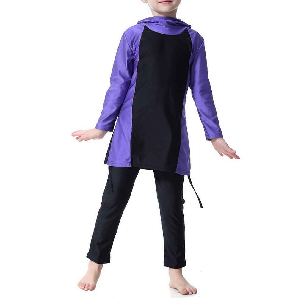 Zhhlinyuan Muslim Swimsuit Girls Kids Full Coverage Modesty Surfing Suit Burkini