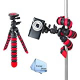"""12"""" Inch Tripod w/ Flexible Spider Disc Legs with Quick Release Plate and Bubble Level for ALL Cameras + Frenzy Deals Microfiber Cloth"""