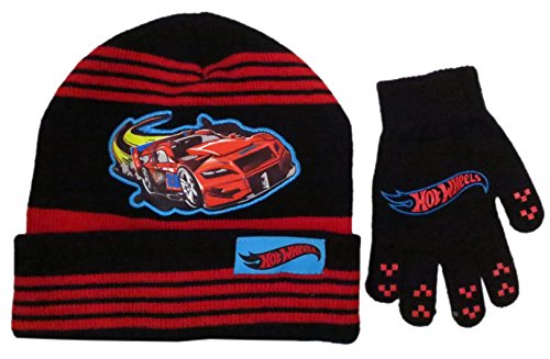 Hot Wheels Boys Black and Bed Stripes Beanie Hat and Glove Set – Size 4 – 7 [4014]