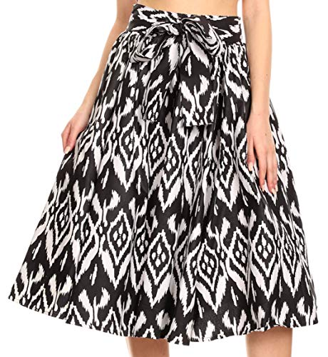 Sakkas AMA Womens Vintage Circle African Ankara Print Midi Skirt with Pockets