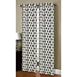 bedroom window treatment ideas Window Elements Malden Printed Cotton Blend 76 x 84 in. Grommet Curtain Panel Pair, Black/Silver