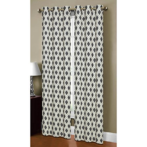 Window Elements Malden Printed Cotton Blend 76 x 84 in. Grommet Curtain Panel Pair, Black/Silver