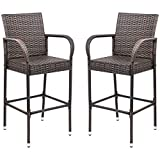 Cheap Homall Pation Bar Stool Wicker Barstool Indoor Outdoor Use Tall Rattan Chair with Footrest and Armrest for Garden Pool Lawn Backyard Pation Furniture(Set of 2 Brown)