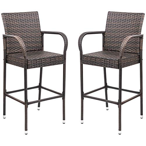 Homall Patio Bar Stools Wicker Barstools Indoor Outdoor Bar Stool Patio Furniture with Footrest and Armrest for Garden Pool Lawn Backyard Set of 2 (Brown)