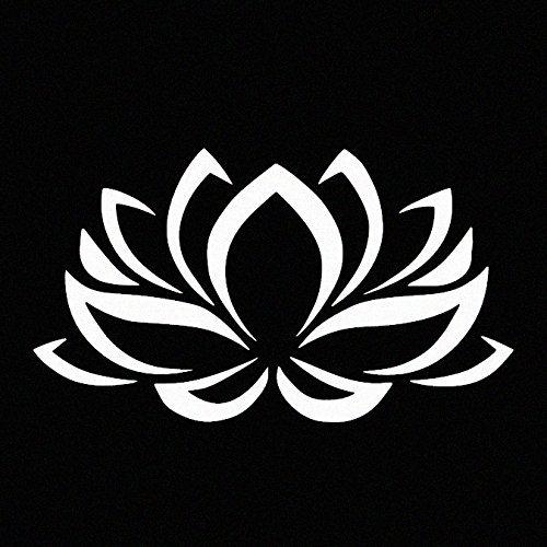 Lotus Flower White Vinyl Car Window Decal Sticker White ()