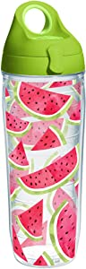 Tervis 1243410 Watermelon Slice Tumbler with Wrap and Lime Green Lid 24oz Water Bottle, Clear