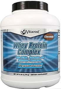 Vitacost Whey Protein Complex Powder with BCAAs Glutamine and Glutamine Precursors Chocolate -- 5 lbs (2,270 g)