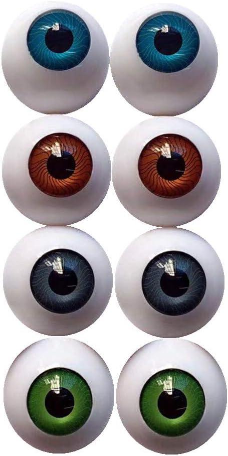 Amazon Com Uusave 4 Pairs Of 4 Colors 22mm Half Round Realistic Acrylic Eyes For Halloween Props Masks Dolls Or Bears Craft Plastic Eyeballs 22mm