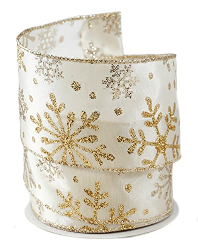 Glittered Snowflakes Gold-colored Satin Wired Ribbon #40 - 2.5