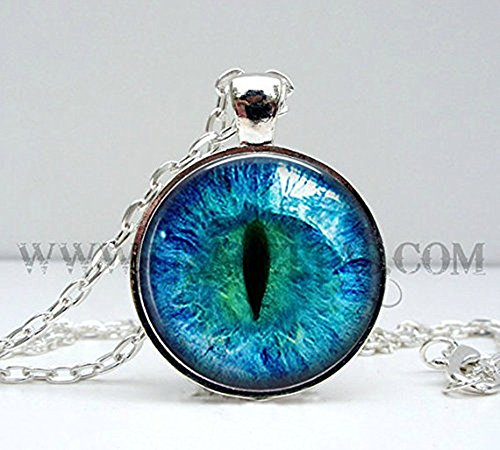 Silver Photo Prismatic Blue Cat Eye Pendant Necklace