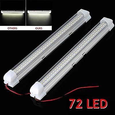 2X 12V 72 LED Car Interior White Strip Lights Bar Lamp Van Caravan ON OFF Switch