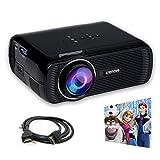 Crenova XPE460 LED Upgraded Projector 1200 Lumens 800480 Resolution Home Cinema Support PC Laptop USB TV Box iPad Smartphone (Black)