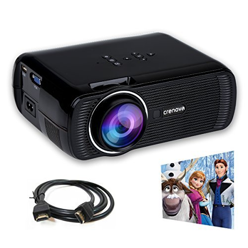 Crenova XPE460 LED Upgraded Projector 1200 Lumens 800*480 Resolution Home Cinema Support PC Laptop USB TV Box iPad Smartphone-Black