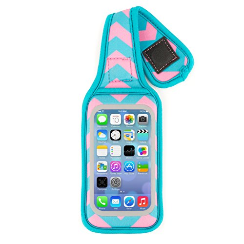 Fitholster - iPhone 5/iPod Touch Fitness Case (Chevron (Pink/Teal) with Teal border) - Chv Cross