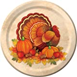 Creative Converting Thanksgiving Scroll Bulk Round Dessert Plates, 8 Count