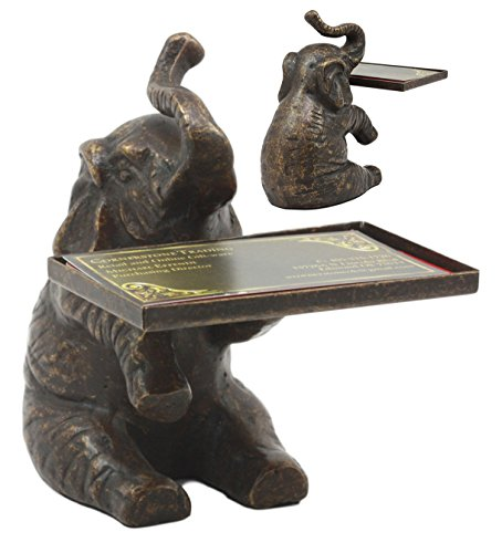 Ebros Decorative Solid Brass Trumpeting Elephant Business Card Holder Statue 5.25
