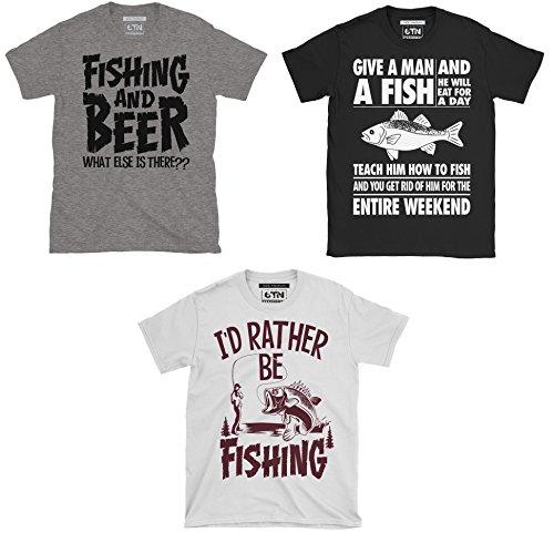 6TN Mens Triple Pack of Mens Fishing/Angling Themed T-Shirts