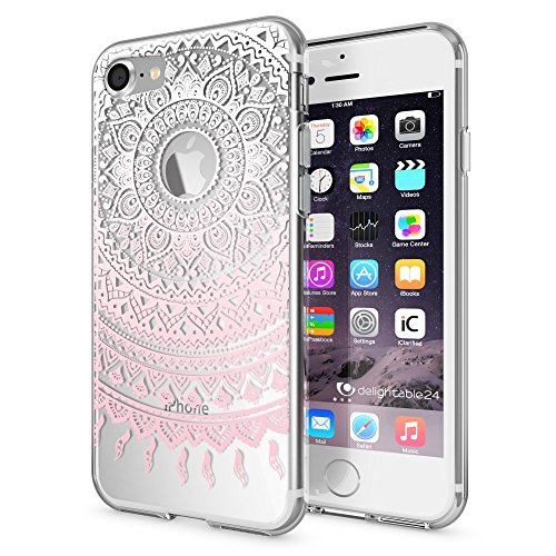 iPhone 7 Case Phone Cover by NICA, Ultra-Thin Silicone Pattern Back Protector Soft Skin, Crystal Clear Gel Shockproof Bumper, Slim Transparent Protective for Apple iPhone-7, Designs:Mandala Pink