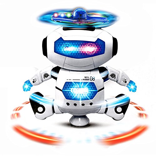 (Electronic Motion and Music Robot Toy In White - Flashing LED Lights and Propellor Action - Dances and Sings to Music - Conveniently Battery Operated - Awesome Astronaut Toy for Kids and Toddlers)