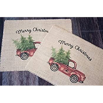 Vintage Red Truck Merry Christmas burlap placemats