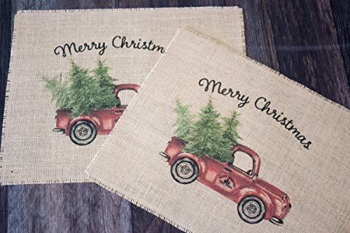 Vinyl Country Placemat - Vintage Red Truck Merry Christmas burlap placemats