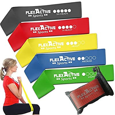 Resistance Loop Bands - Set of 5 Fitness Exercise Bands for Fitness Workouts - Stretching and Physical Therapy by Flex Active Sports