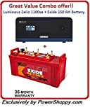 Luminous Zelio 1100 + Exide 150AH Battery Great Premium Combo offer