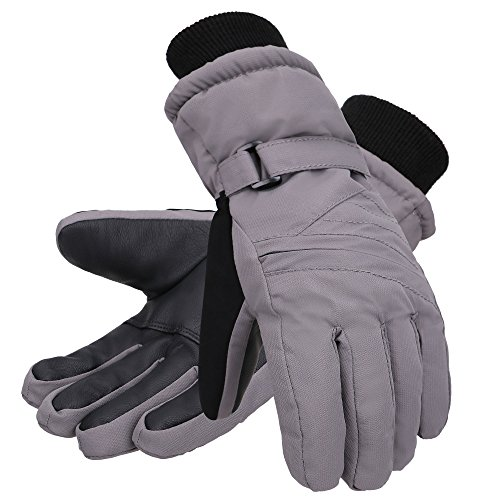 - Andorra Kids' Zippered Pocket Thinsulate Cotton Ski Snowboarding Gloves,Grey,M(7-9 Years)